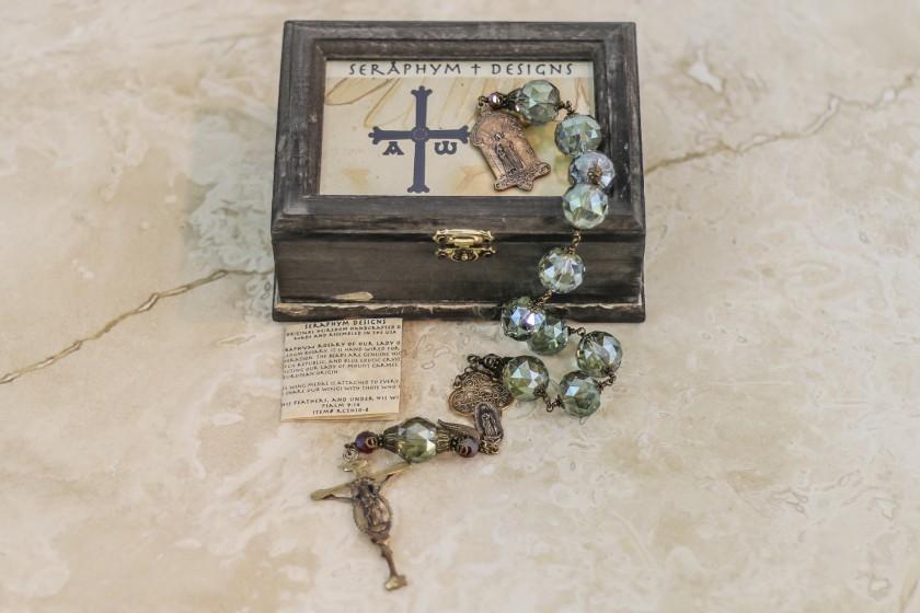 Olive Crystal & Garnet Swarovski One Decade Rosary