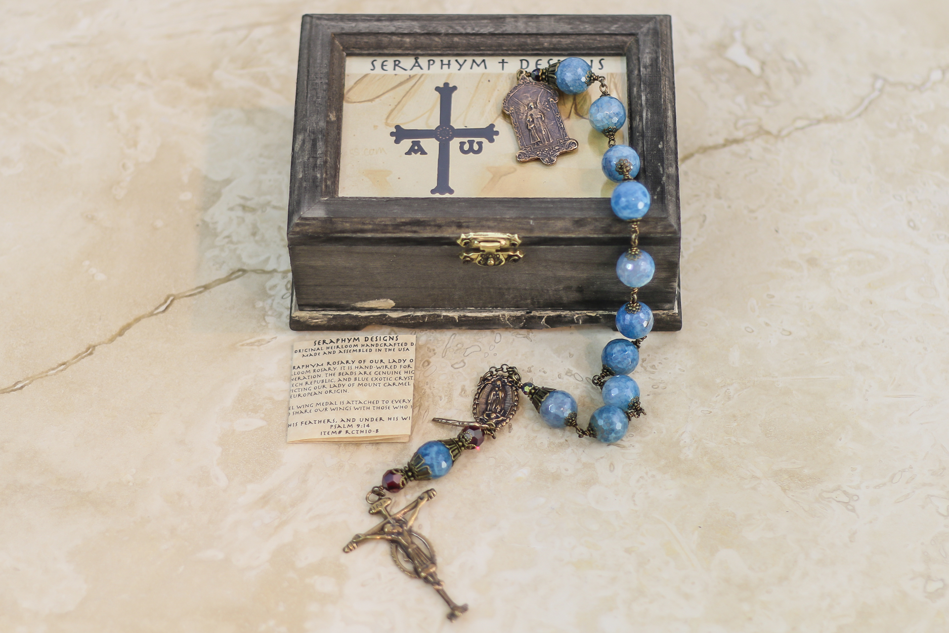Blue Fire Agate One Decade Rosary