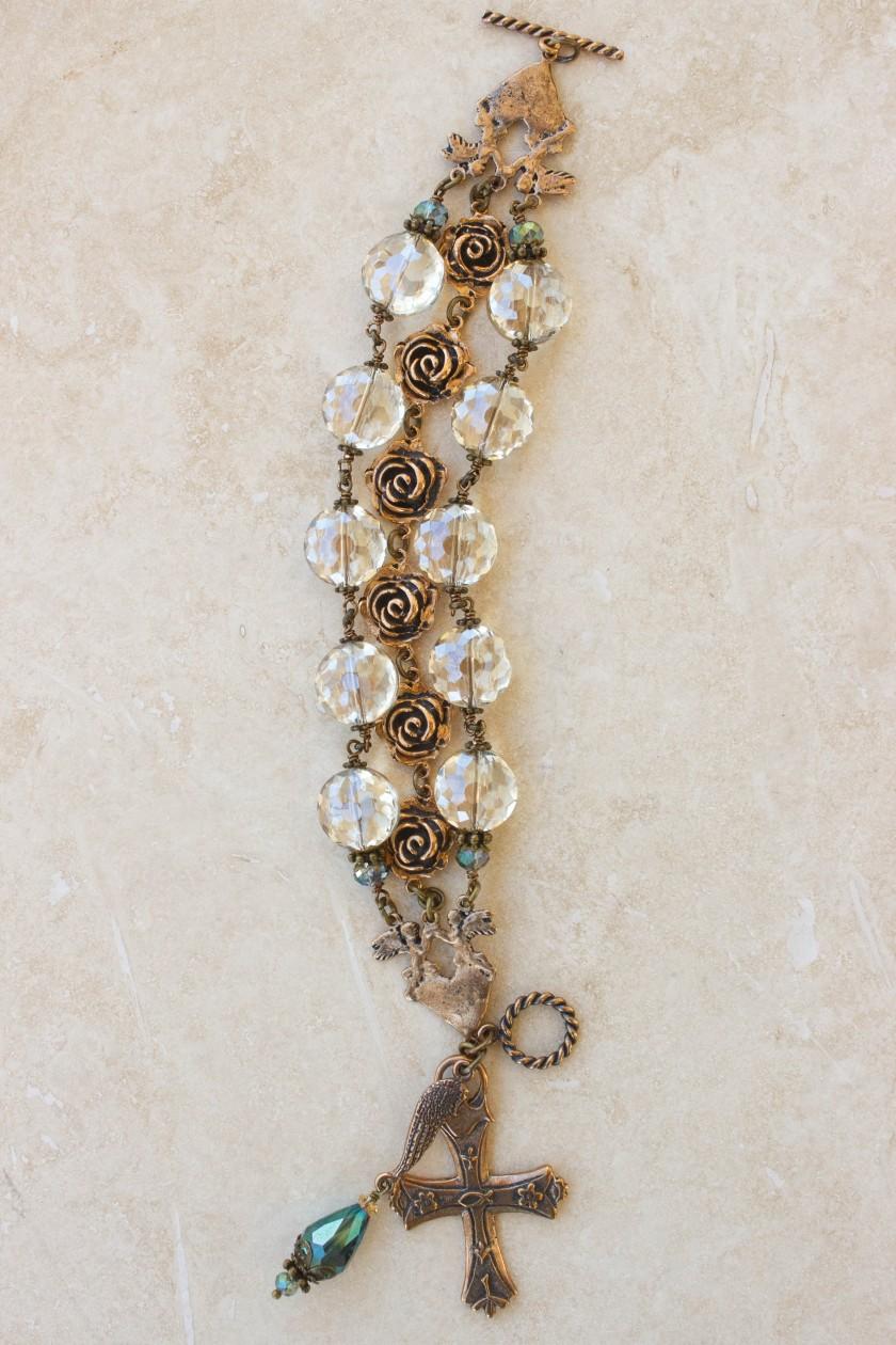 Champagne and Aqua Crystal Bracelet
