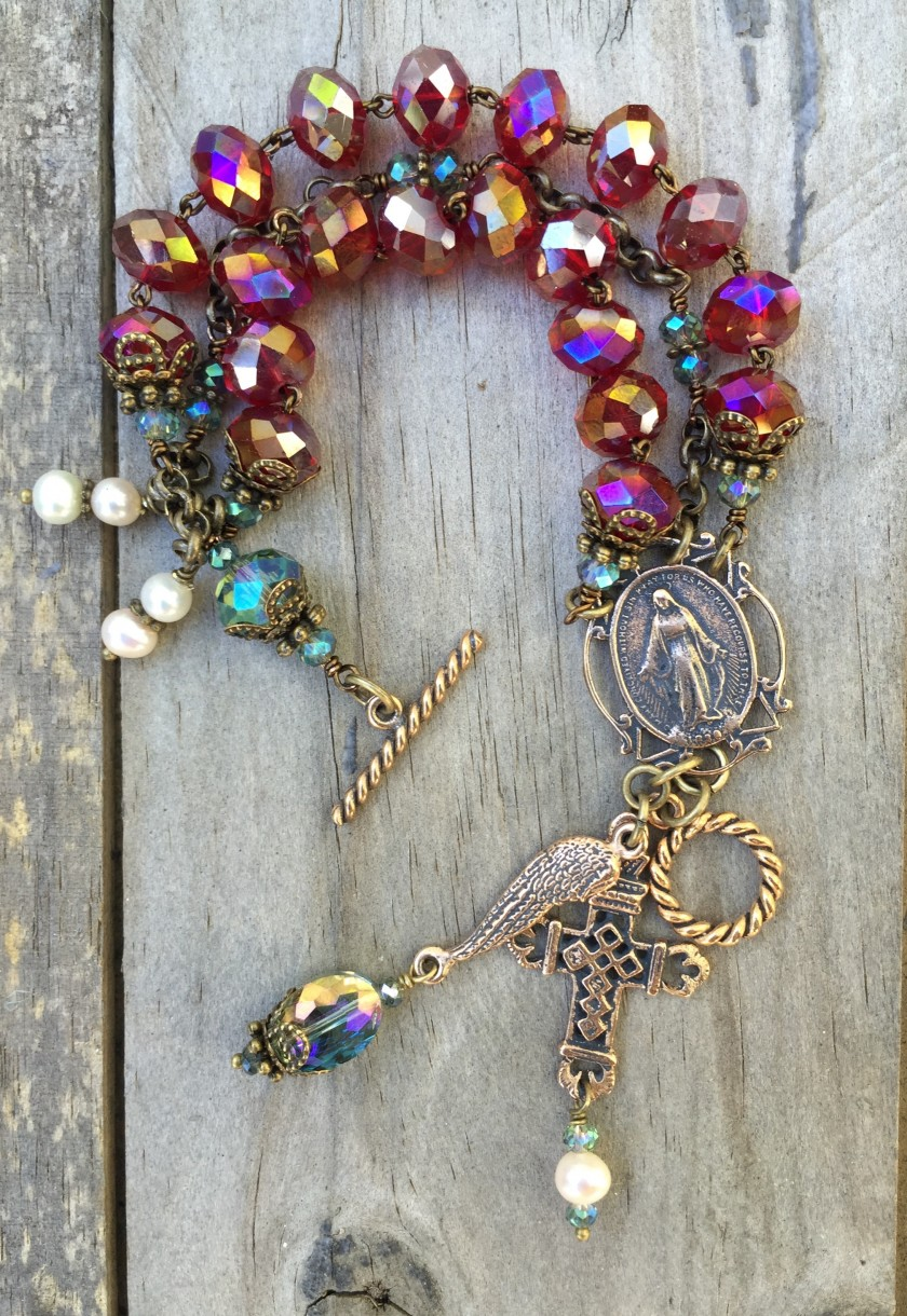 Ruby and Aqua Crystal Bracelet