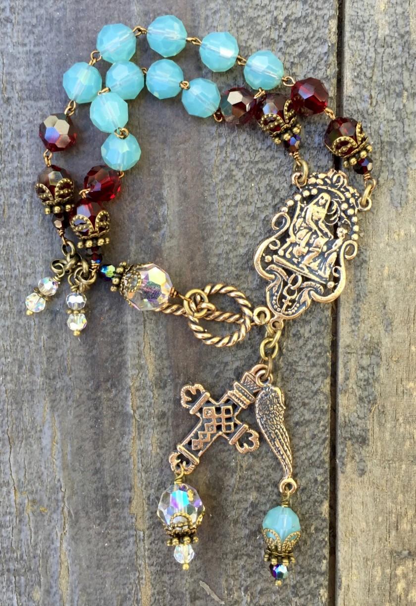 Cloud, Garnet and Clear Crystal Bracelet