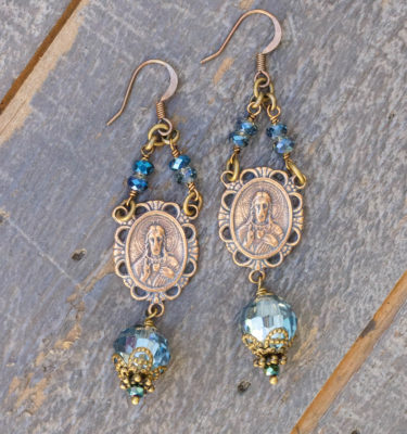 Blue and Aqua Metallic Asian Crystal Earrings