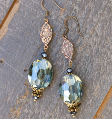 Olive and Charcoal Crystal Earrings