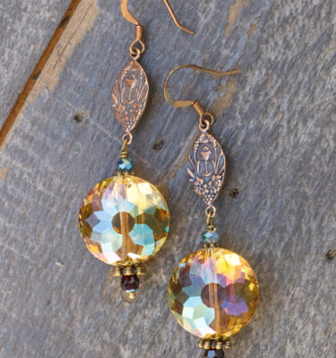 Apricot and Aqua Crystal Earrings