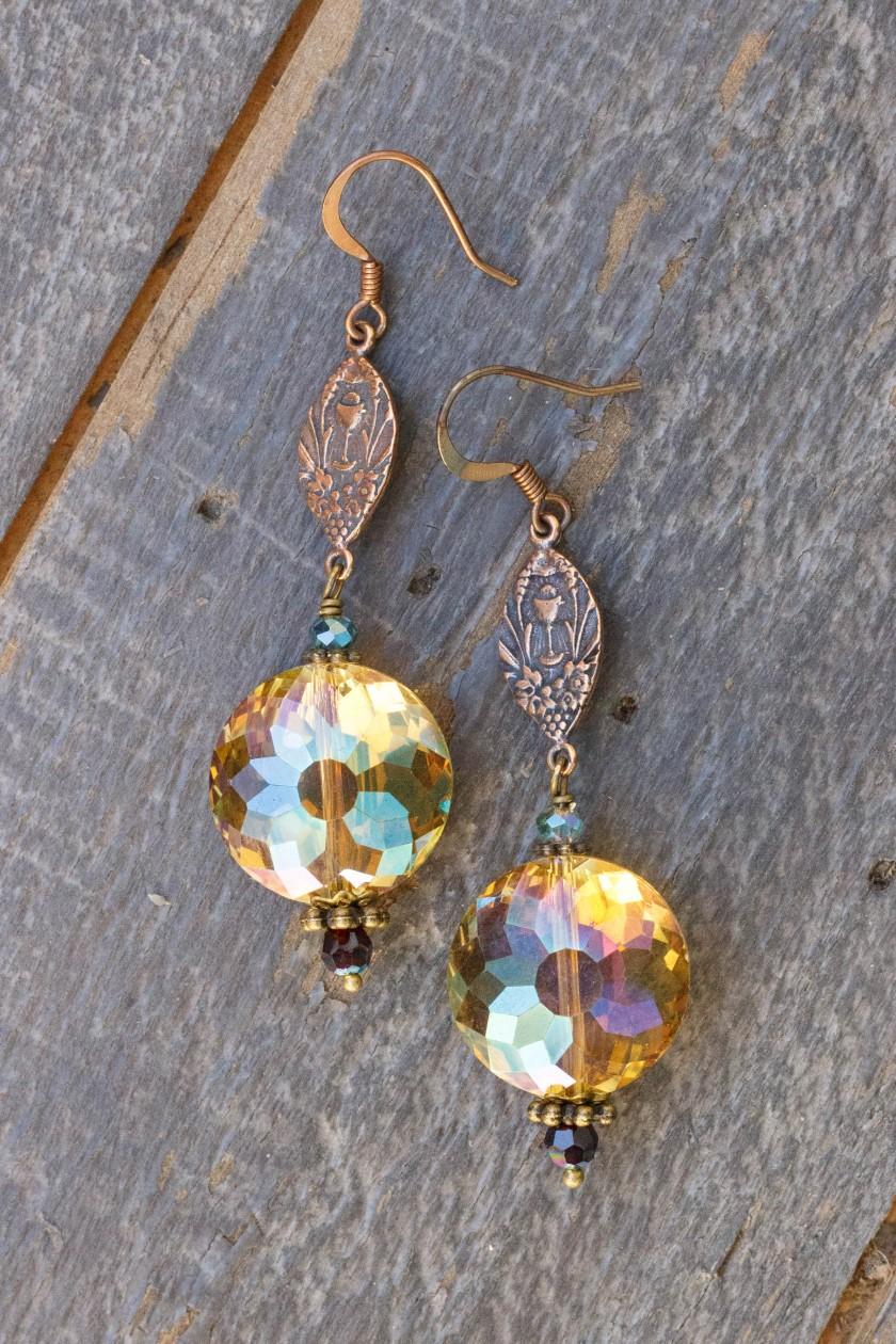 Apricot and Aqua Crystal Earrings