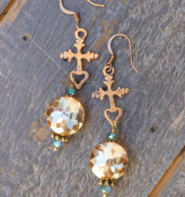 Dark Champagne and Aqua Crystal Earrings