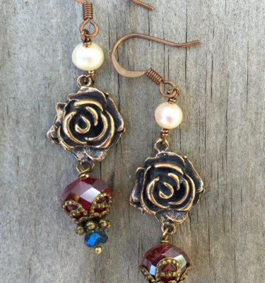 Faceted Ruby and Aqua Crystal Earrings