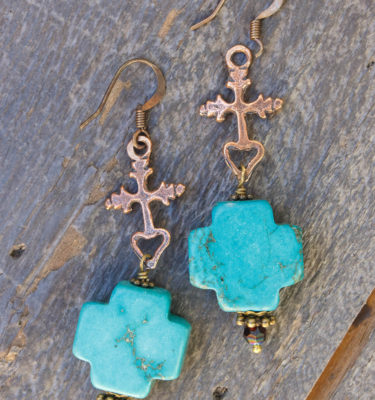 Cross Howlite Crystal Earrings