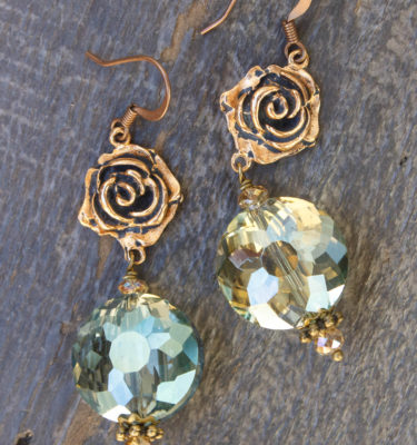 Olive and Champagne Crystal Earrings