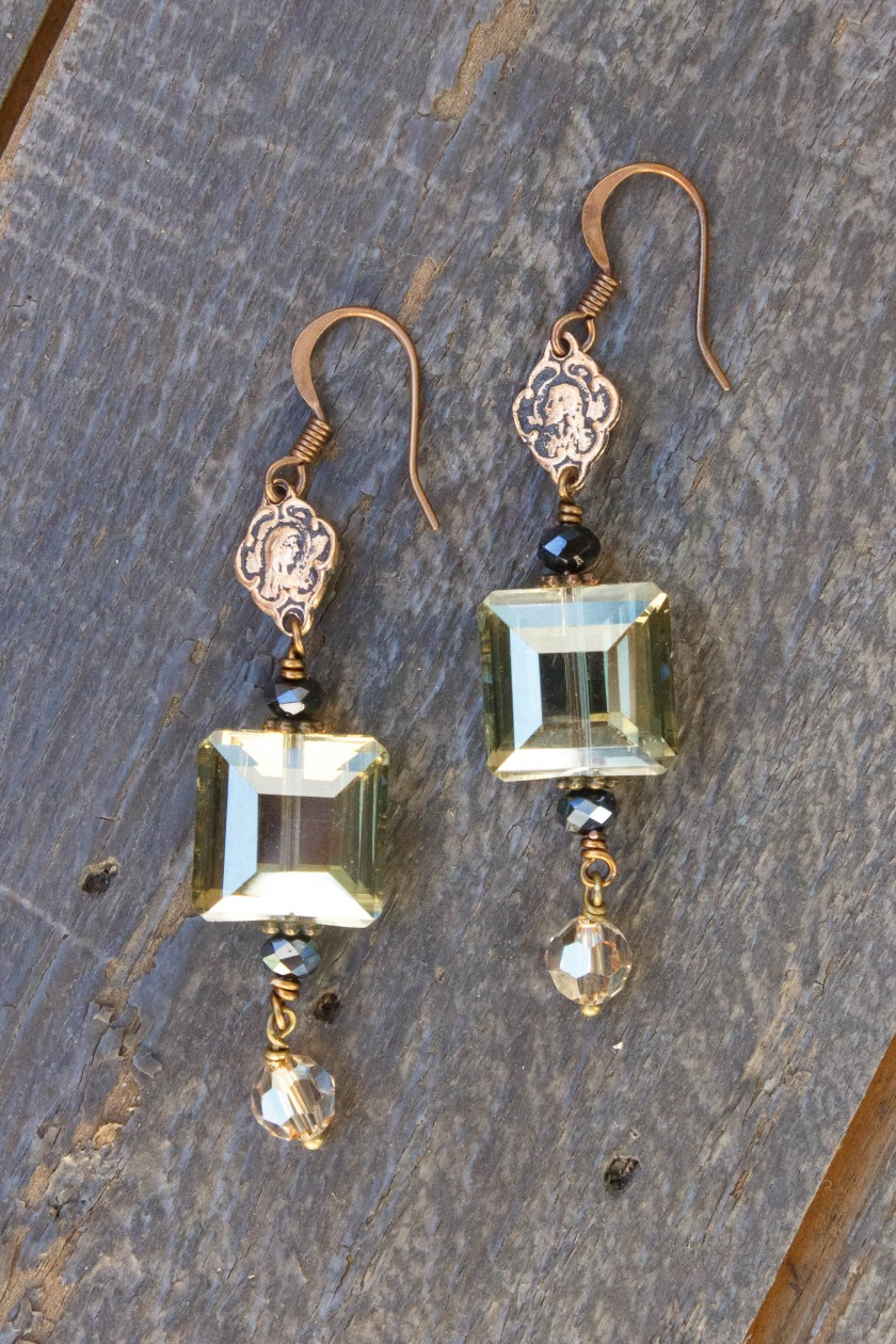 Olive, Champagne and Charcoal Crystal Earrings