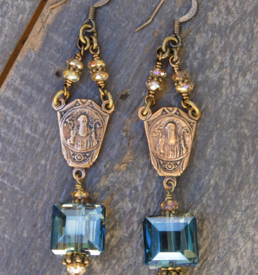 Blue and Champagne Crystal Earrings