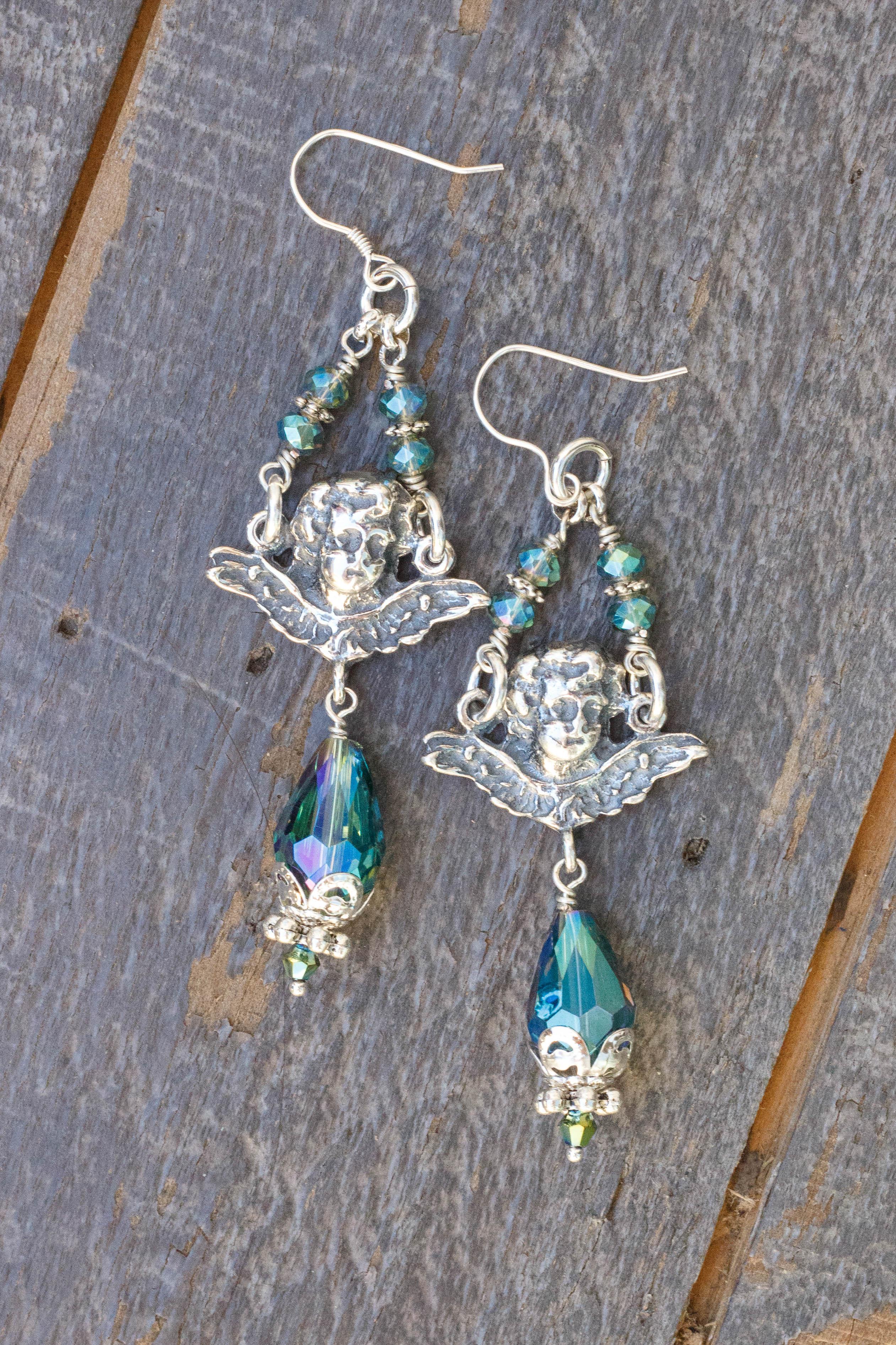 Aqua Exotic Asian Crystal Earrings