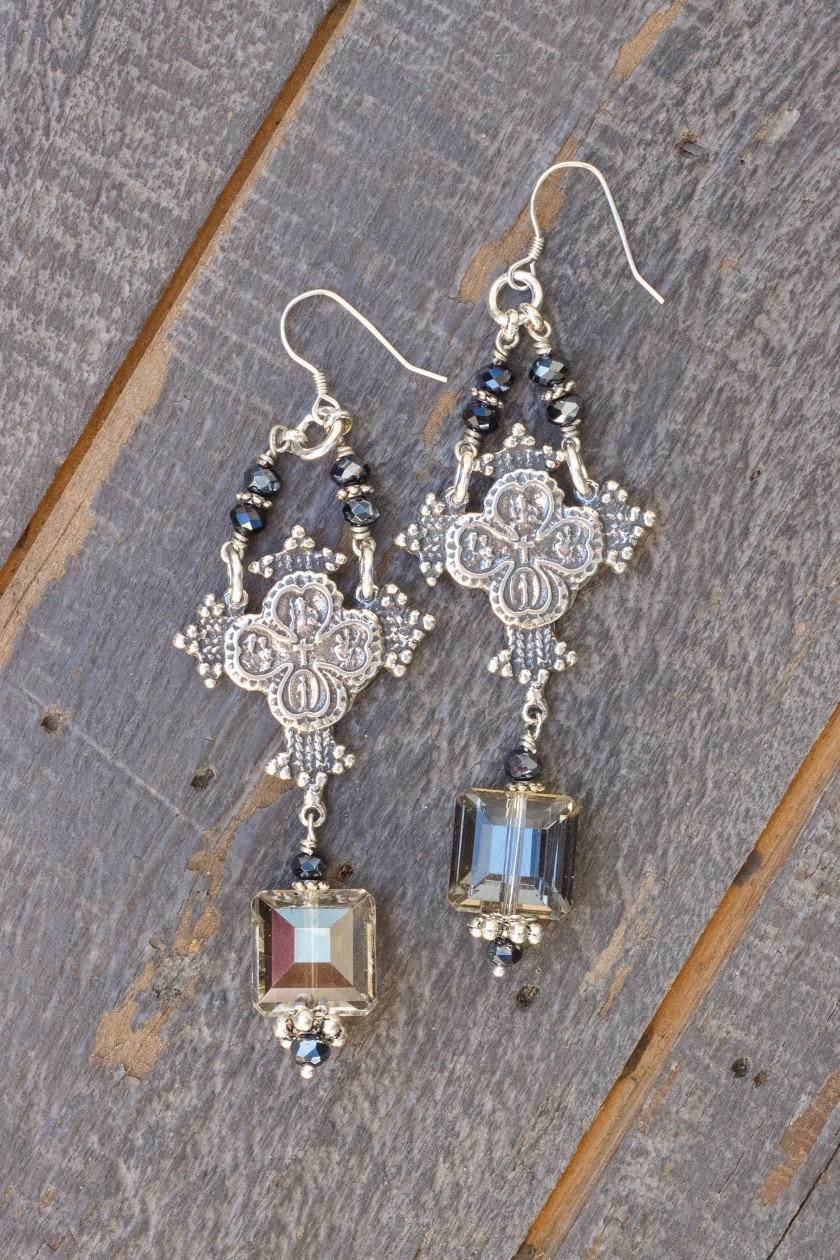 Silver and Charcoal Crystal Earrings