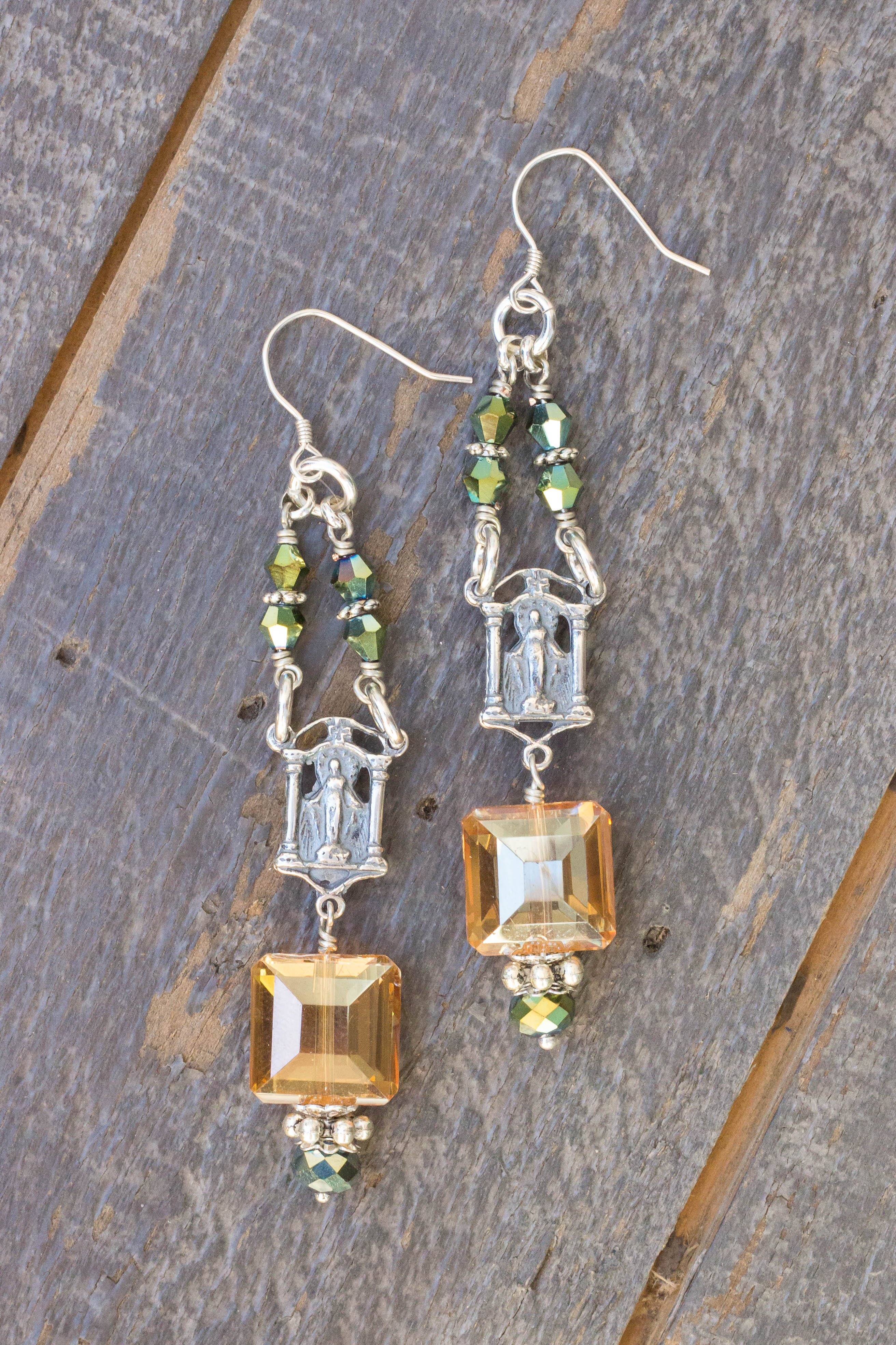 Dark Champagne and Aqua Asian Crystal Earrings – Our Lady of Grace
