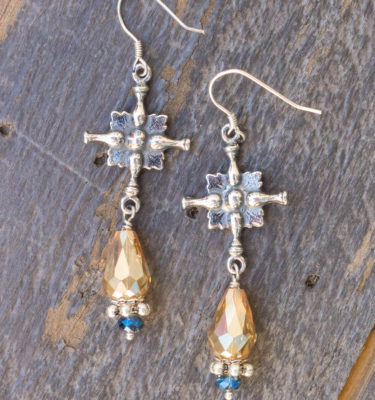 Dark Champagne and Aqua Asian Crystal Earrings – Creed Crosses