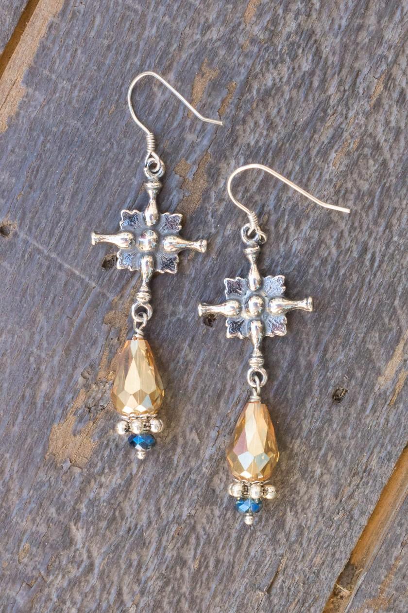Dark Champagne and Aqua Asian Crystal Earrings – Creed Crosses