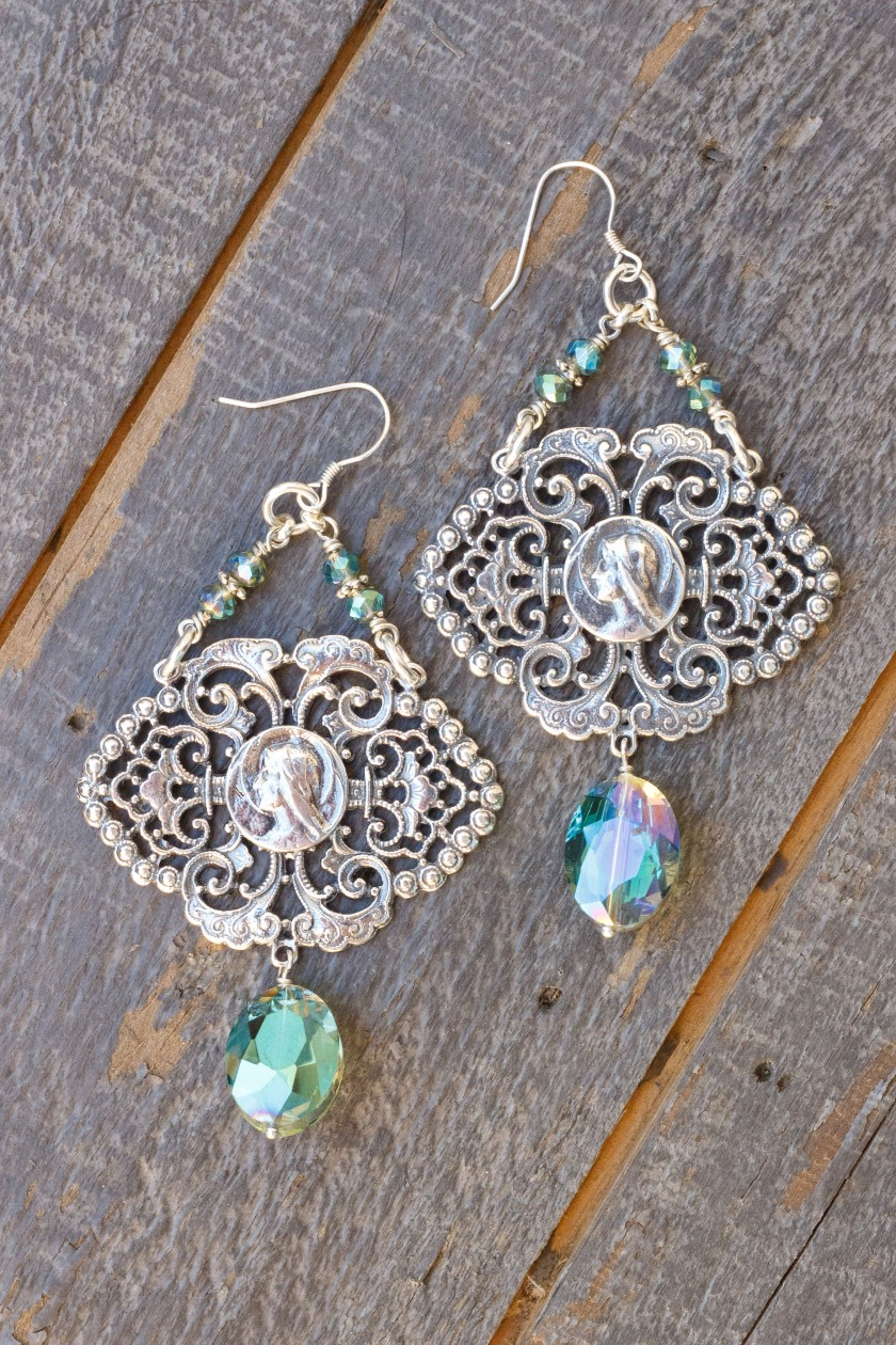 Aqua Asian Crystal Earrings – Our Blessed Mother Mary