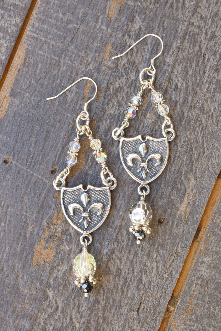 Clear and Charcoal Asian Crystal Earrings