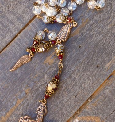 Divine Mercy Clear Asian Crystal Rosary