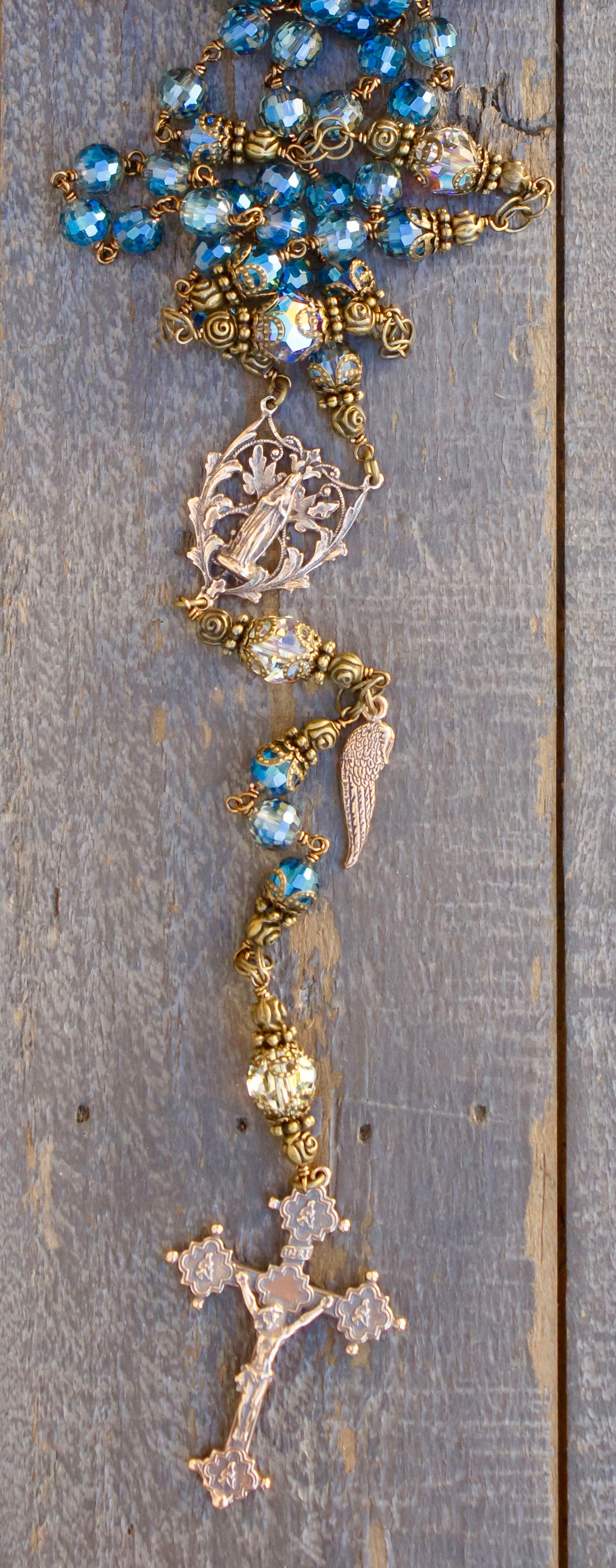 Blue Asian Crystal Heirloom Rosary