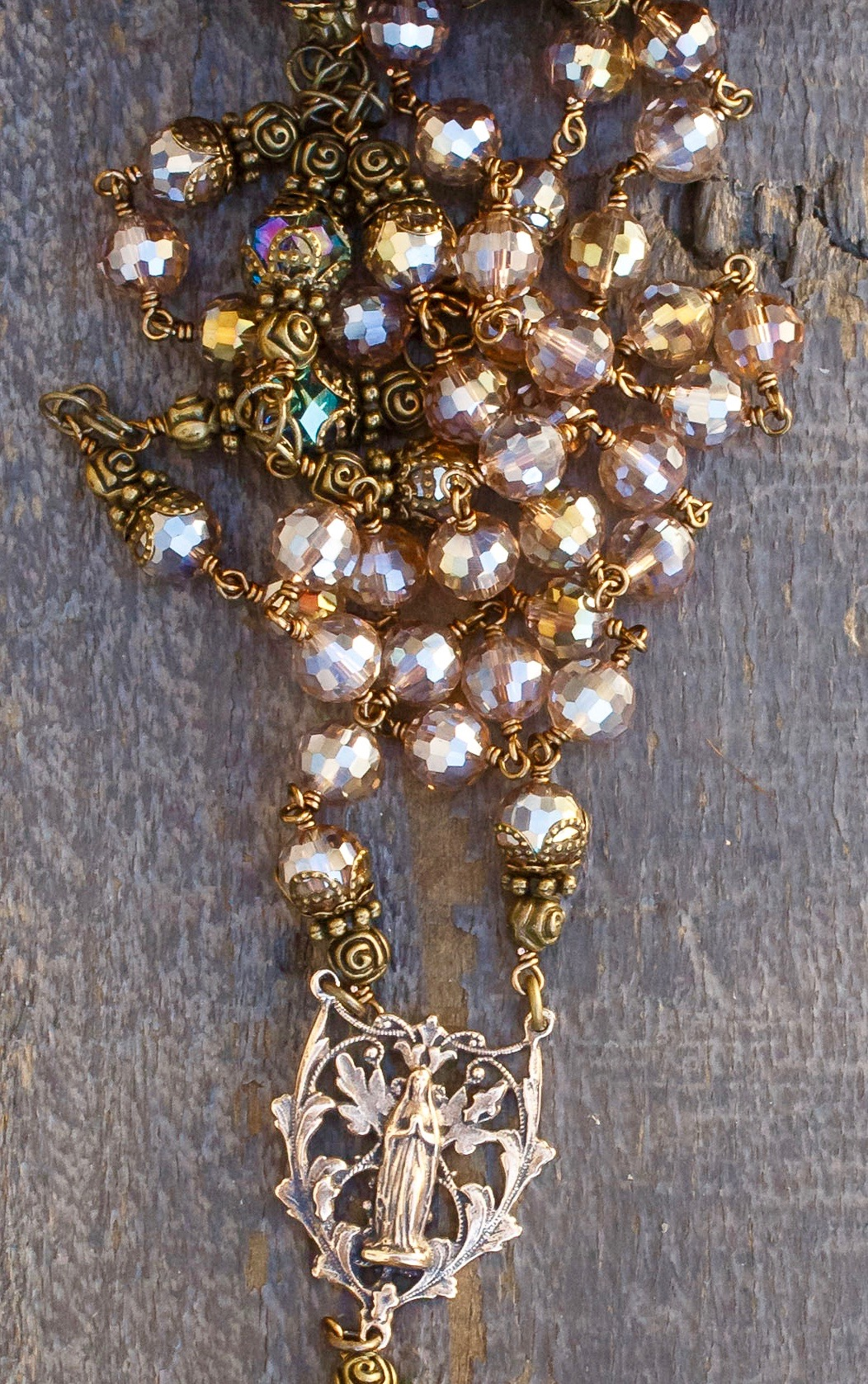 Champagne Asian Crystal Heirloom Rosary
