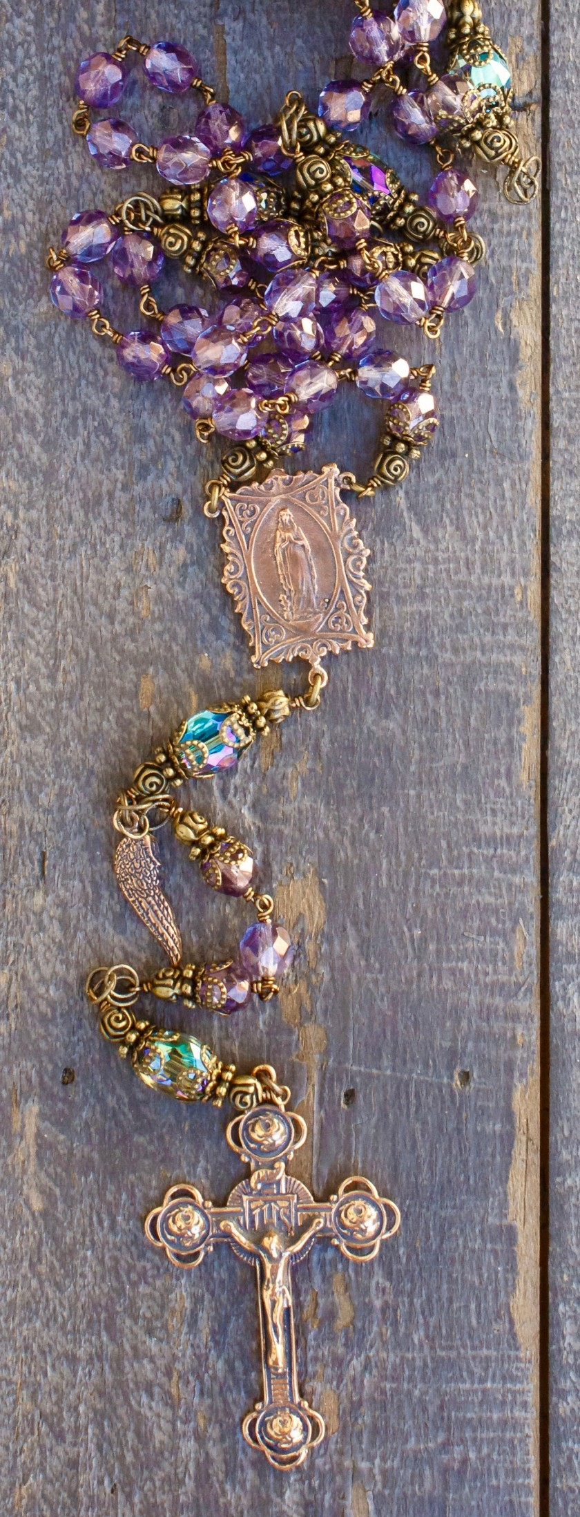 Faceted Lavender Glass Heirloom Rosary