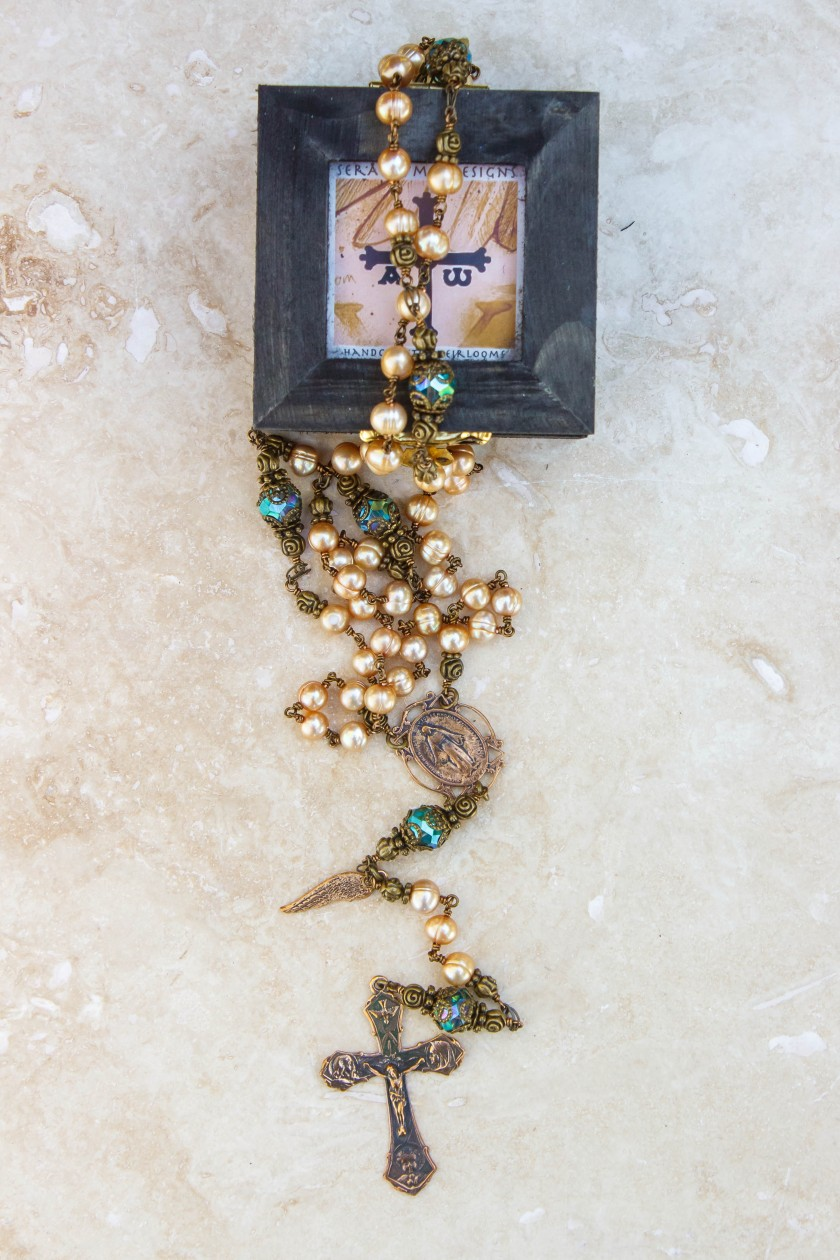 Gold Pearl Rosary