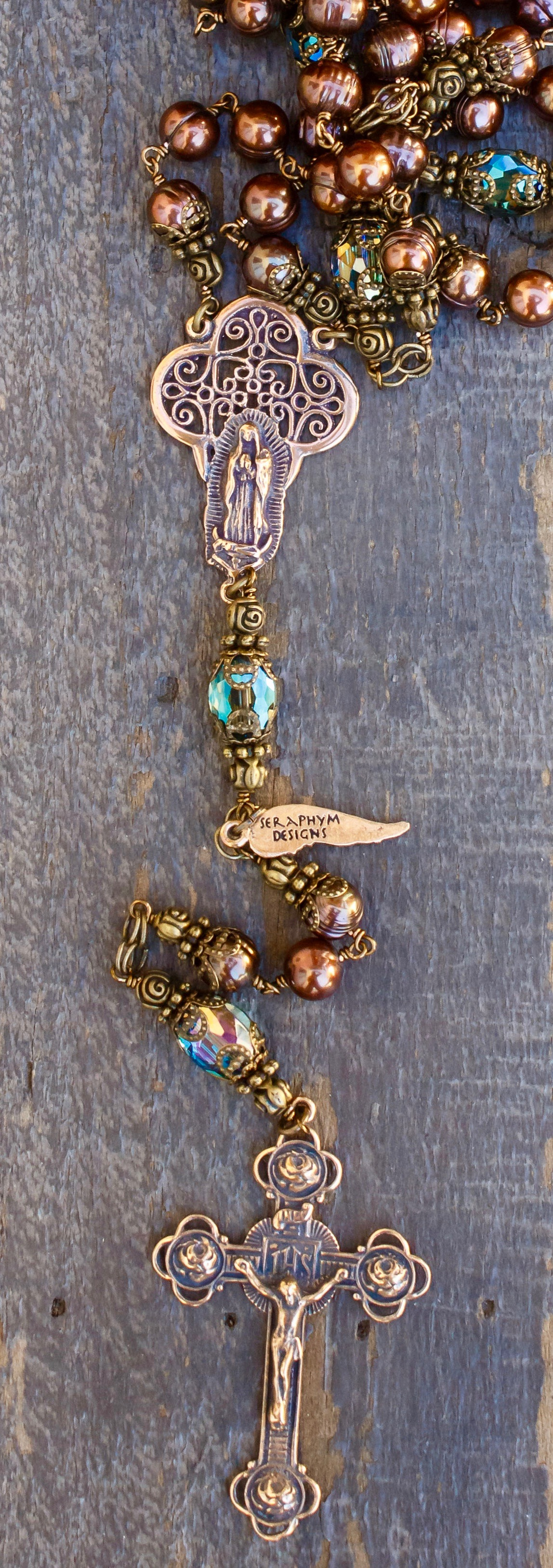 Silver Fresh Water Pearl Heirloom Rosary 8mm