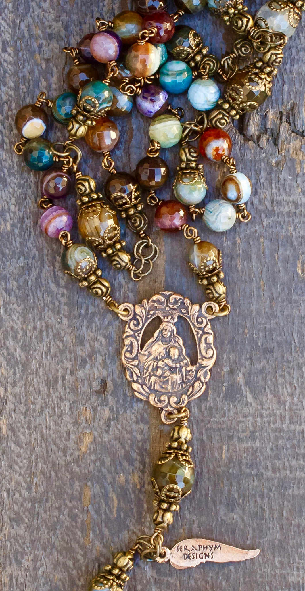 Faceted Earth Agate Heirloom Rosary