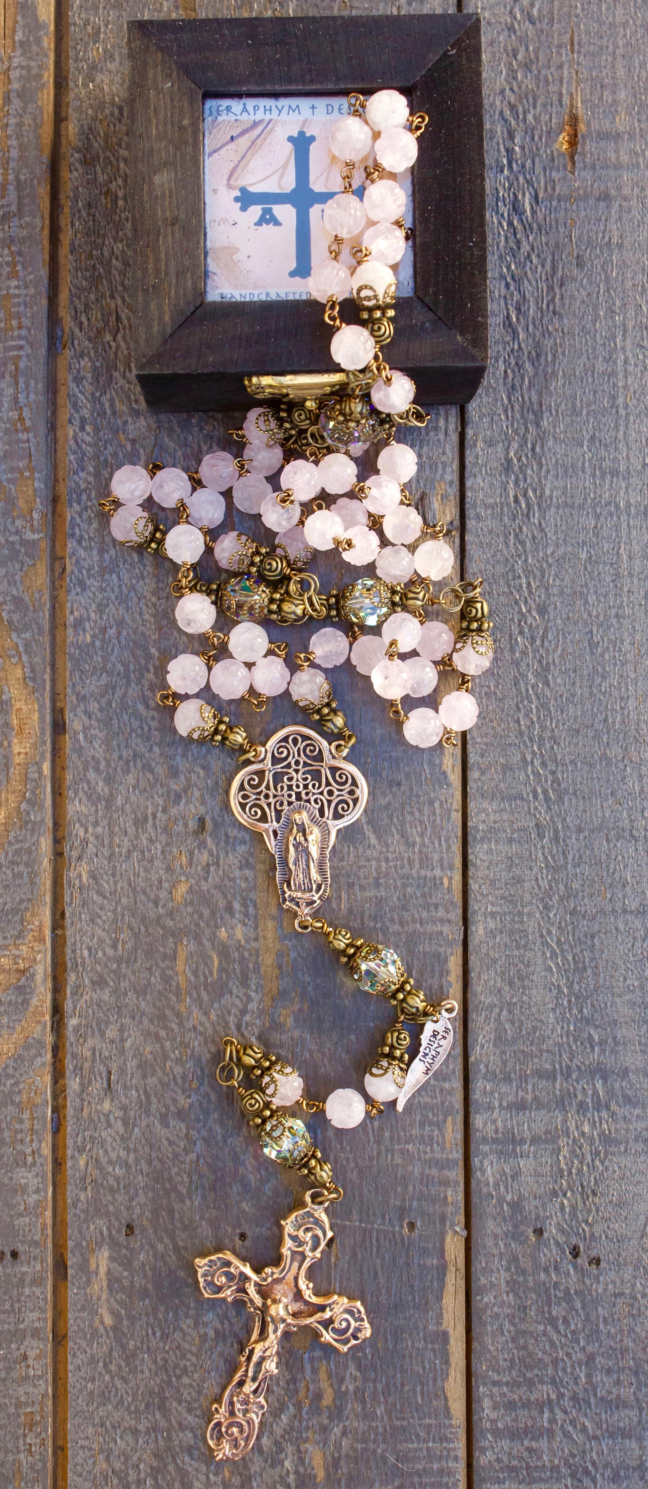 Rose Quartz Carved Heirloom Rosary