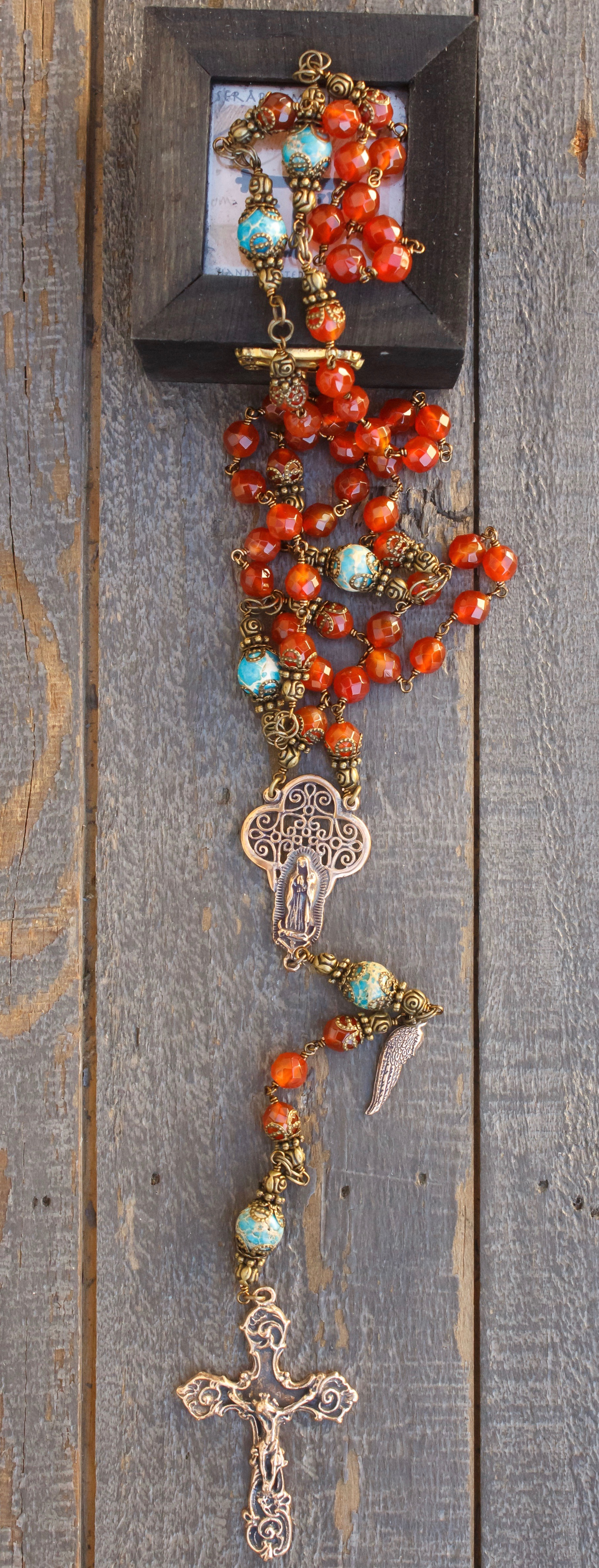 Faceted Carnelian Quartz Heirloom Rosary