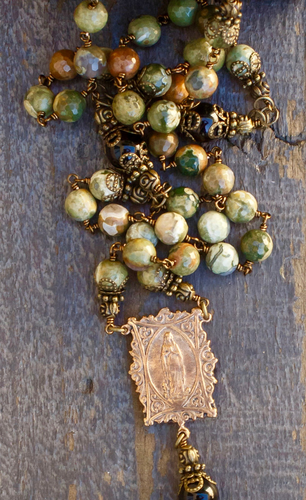 Faceted Green Jasper Heirloom Rosary