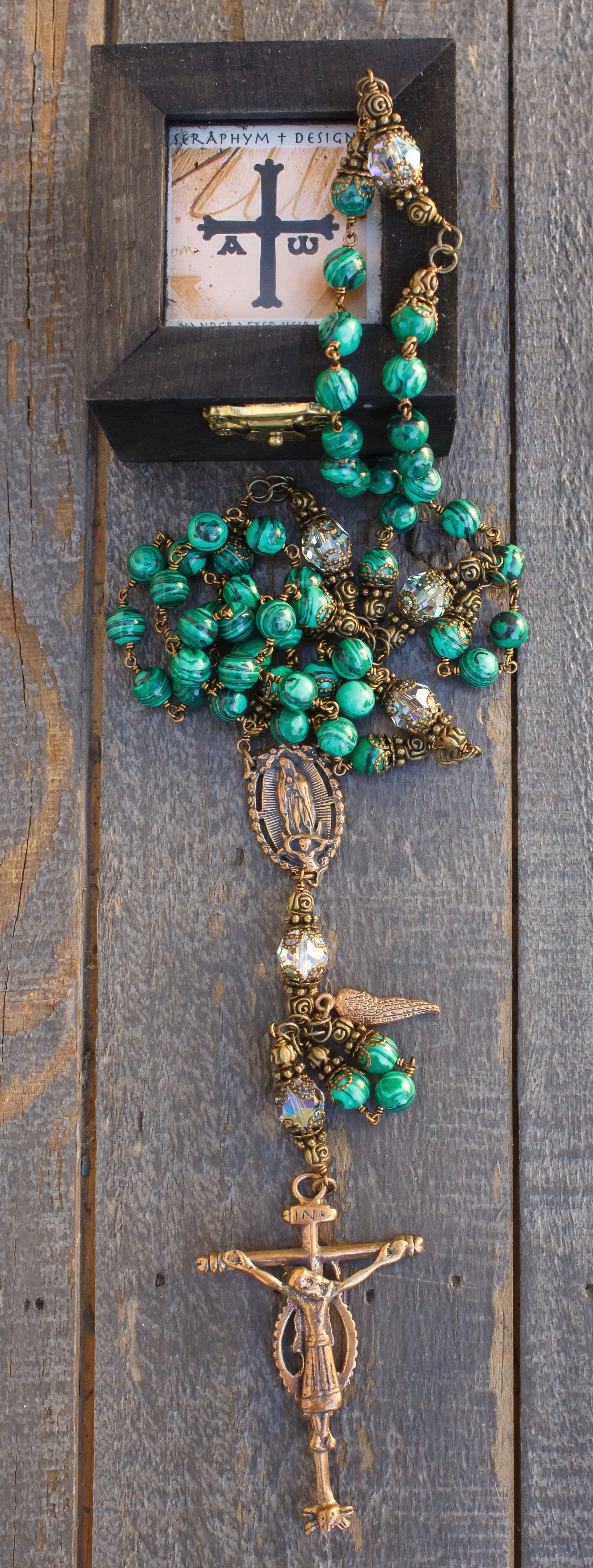 Natural Malachite Heirloom Rosary