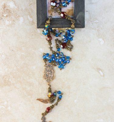 Mary Blue Swarovski Crystal 6mm Rosary
