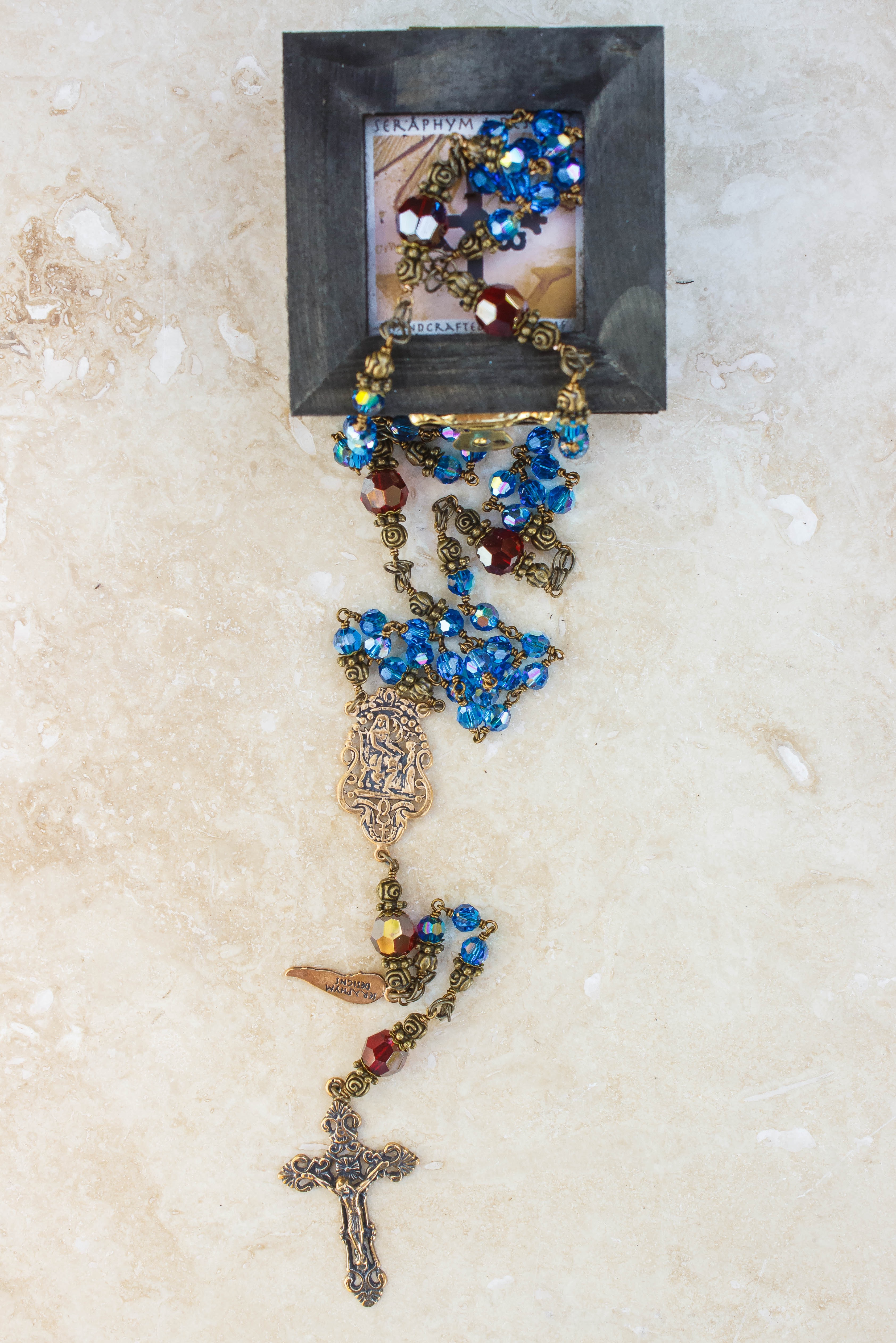 Mary Blue Swarovski Crystal 6mm Rosary
