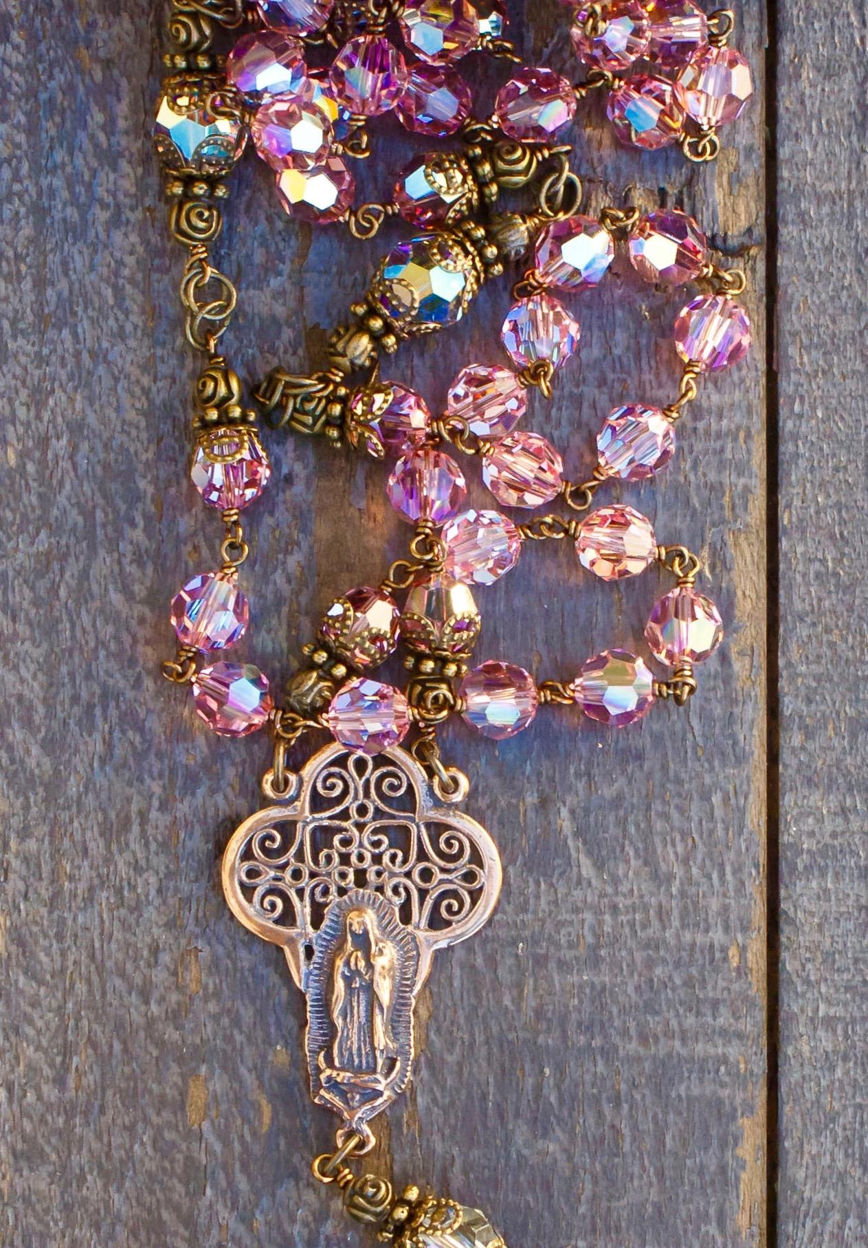 Rose Pink Swarovski Crystal Heirloom Rosary