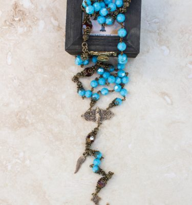 turquoise and garnet swarovski crystal Rosary