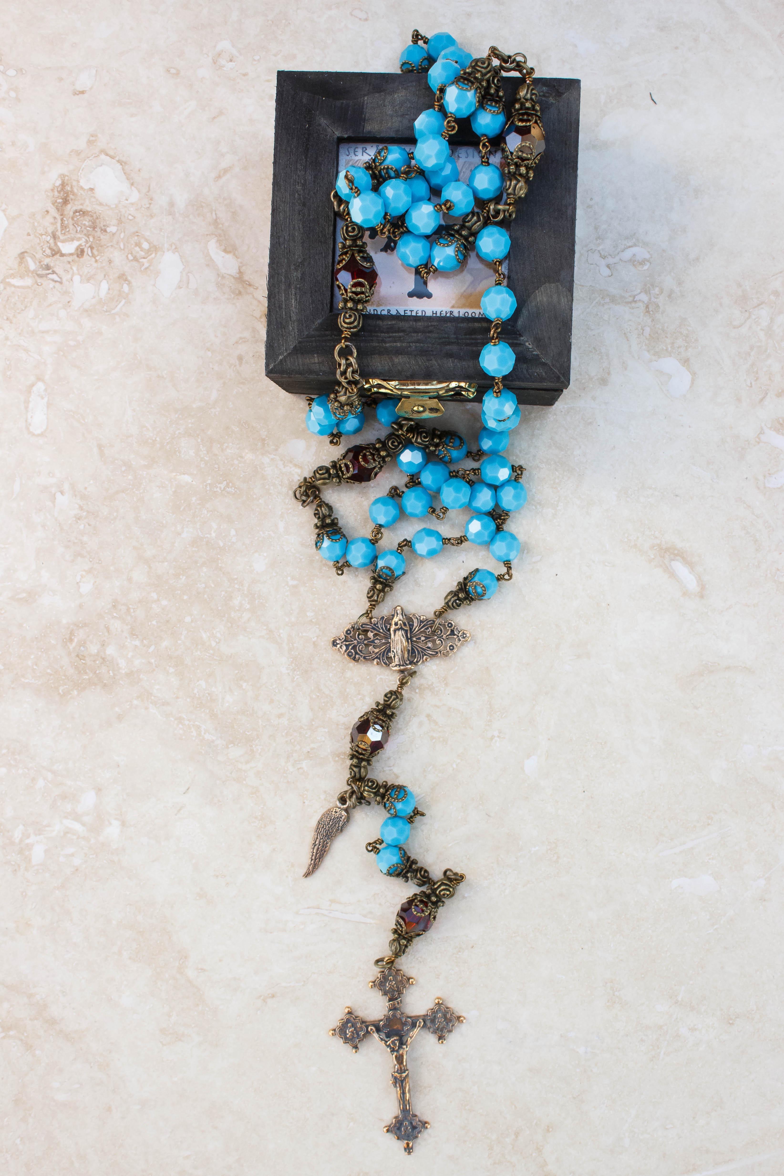 turquoise and garnet swarovski crystal Rosary