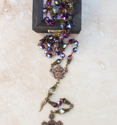 Amethyst and Clear Crystal Rosary