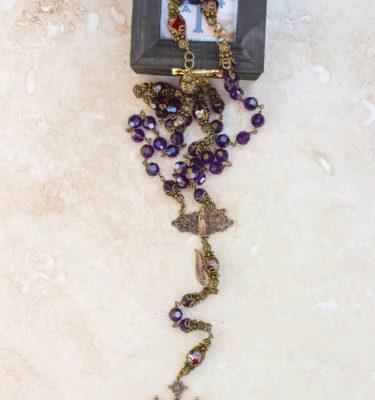 Purple and Garnet Swarovski Crystal Rosary
