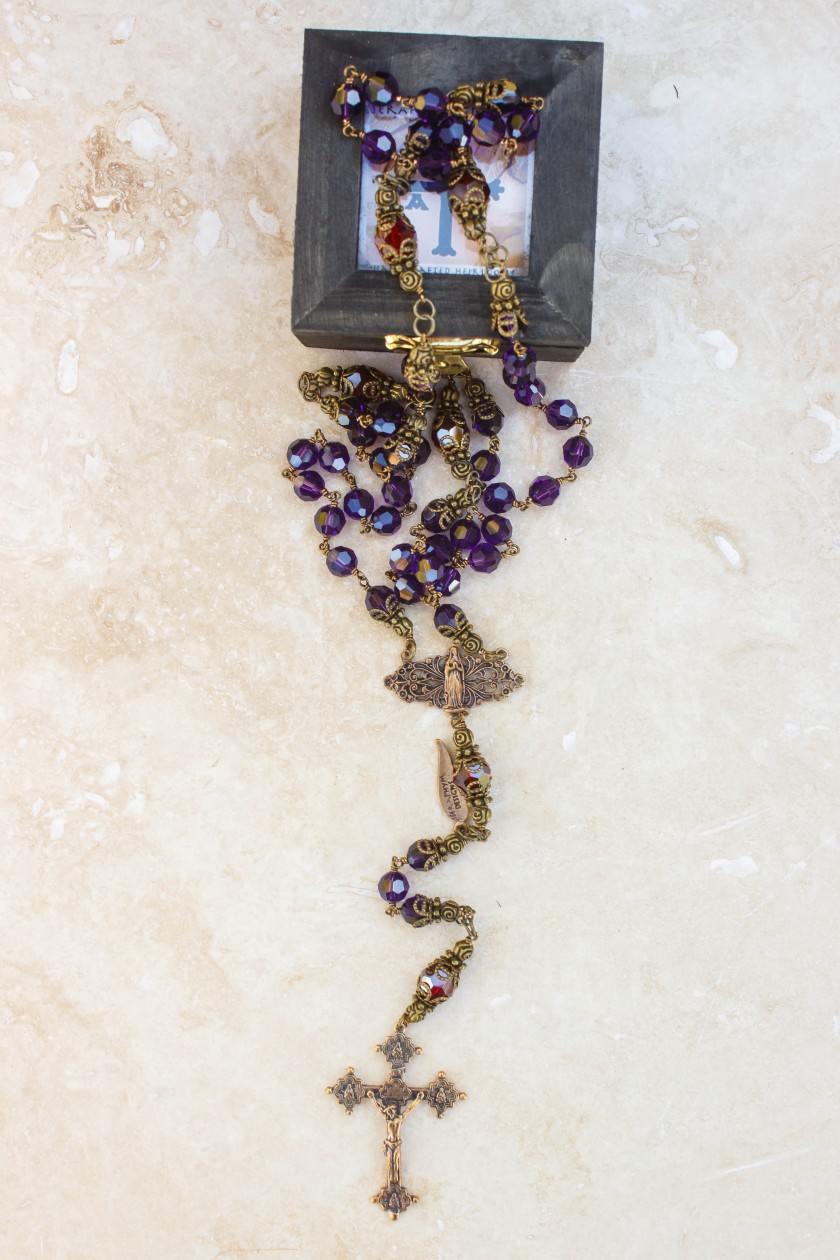 Purple and Garnet Swarovski Crystal Rosary