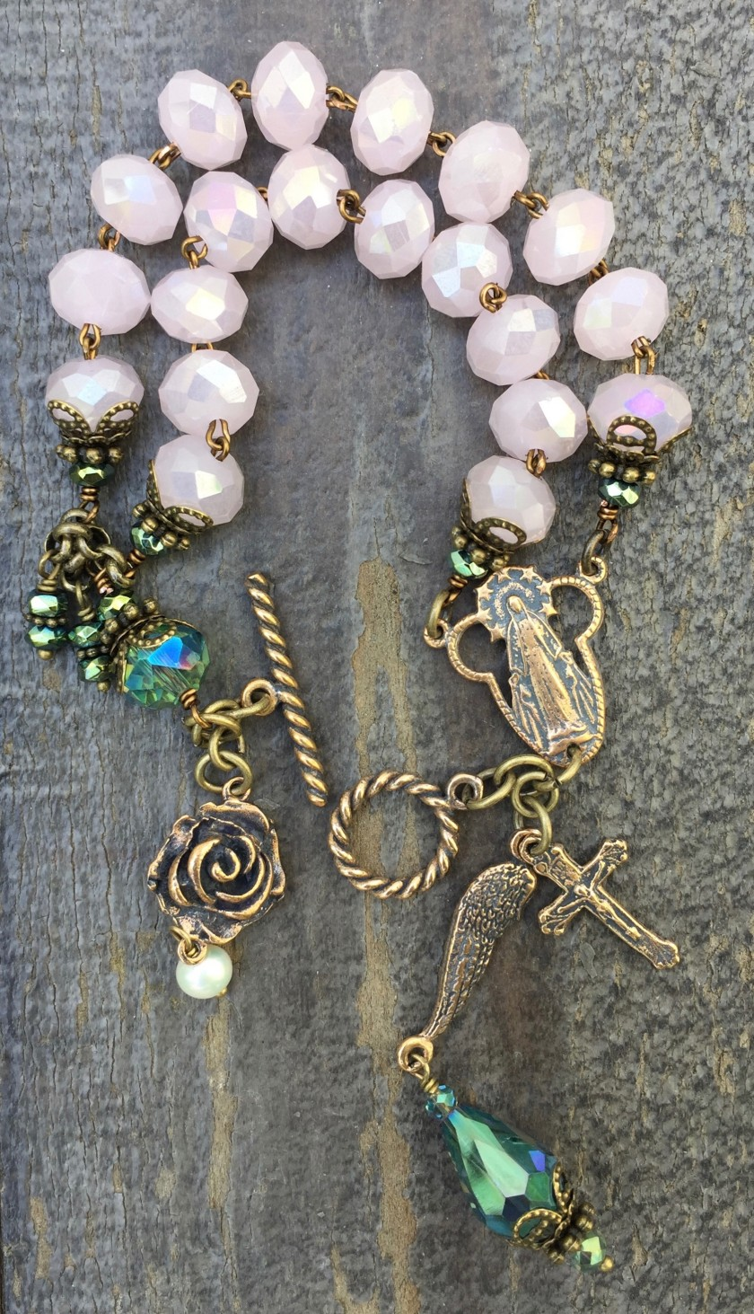 Baby Pink and Aqua Crystal Bracelet – 8x10mm