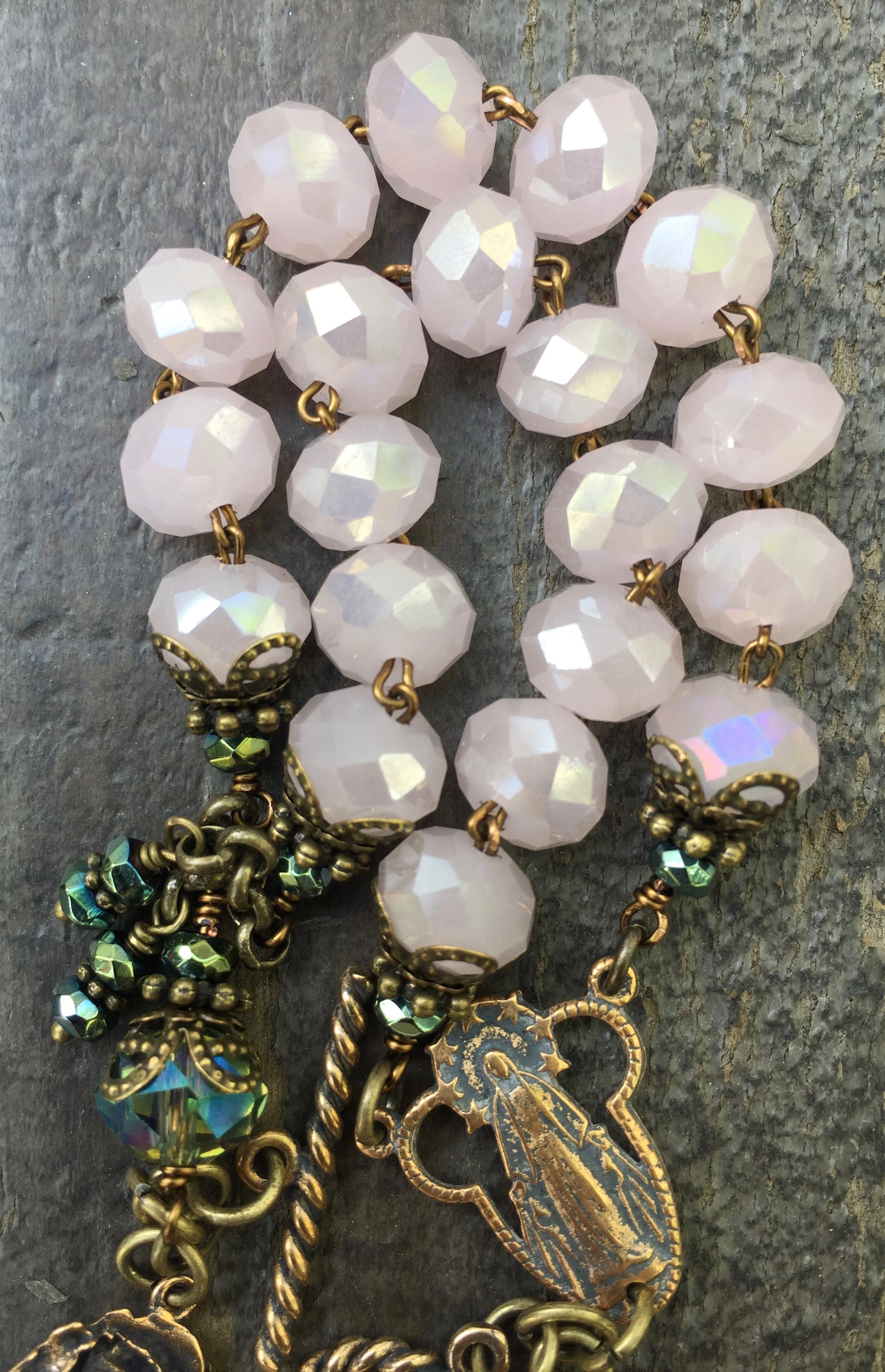 Baby Pink and Aqua Crystal Bracelet – 8x10mm