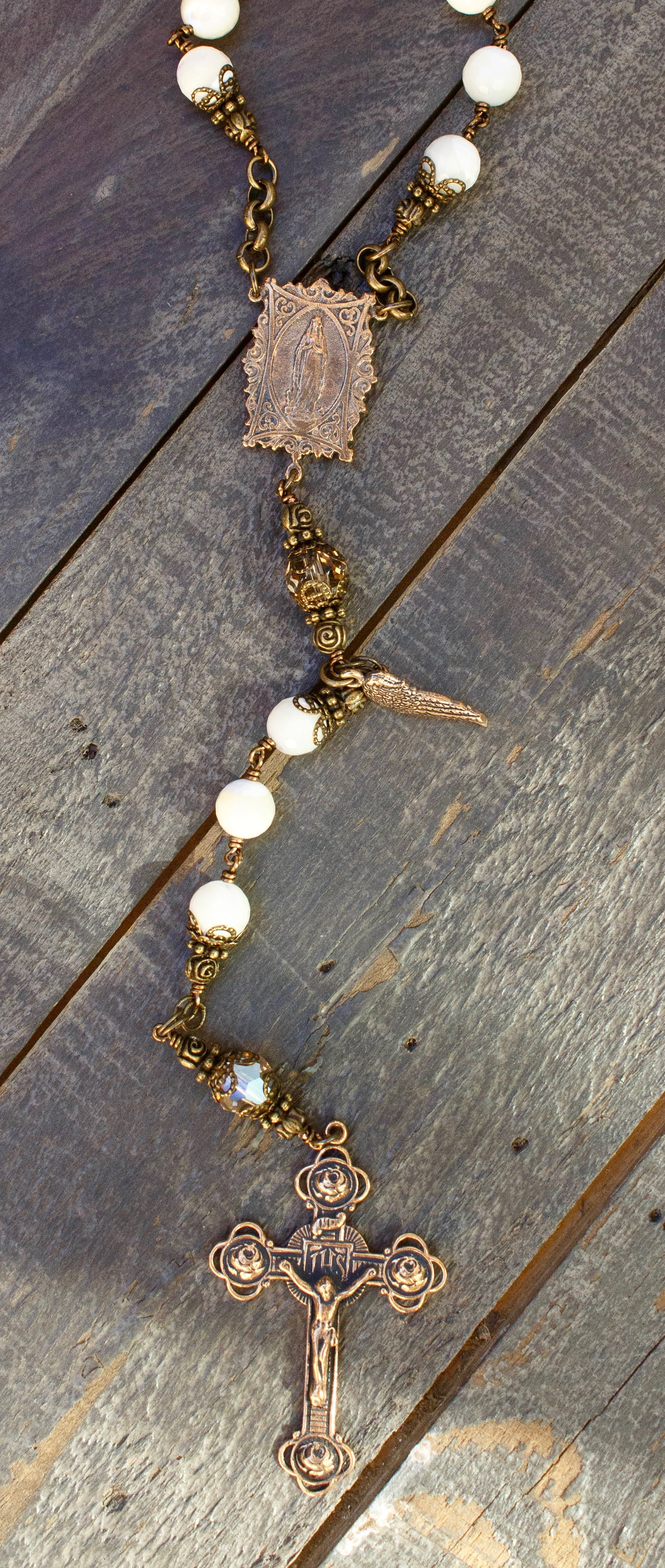 Faceted Mother of Pearl One-Decade Heirloom Rosary 10mm