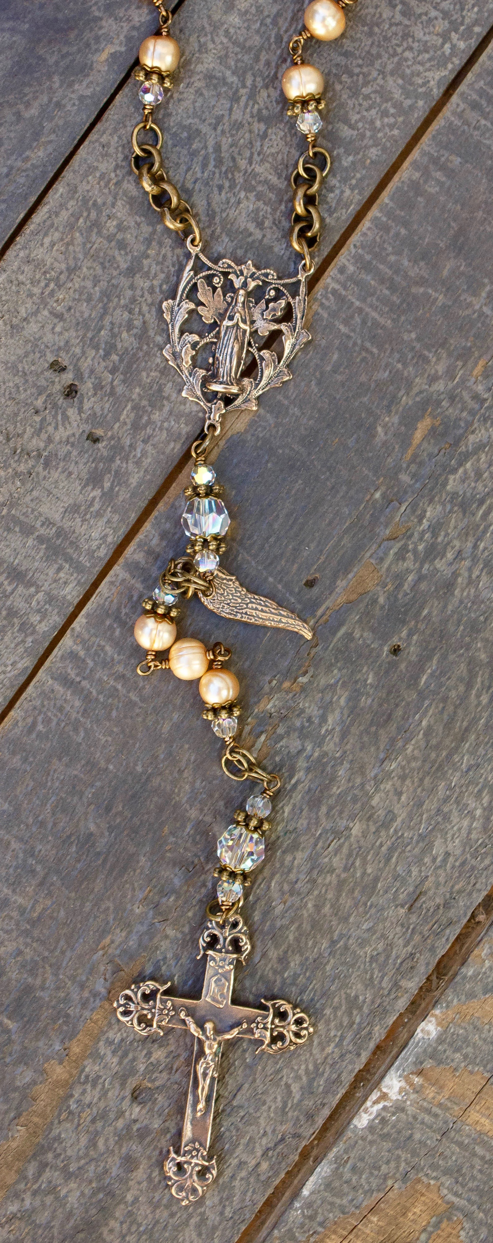 Gold Fresh Water Pearl One-Decade Heirloom Rosary 6mm