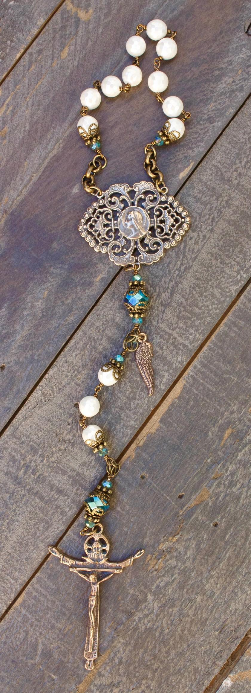 Aqua Crystal One-Decade Heirloom Rosary 8mm