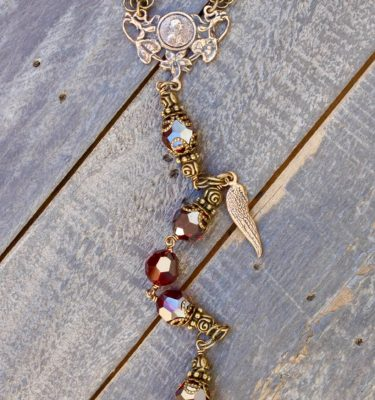 Garnet Swarovski One-Decade Heirloom Rosary 10mm
