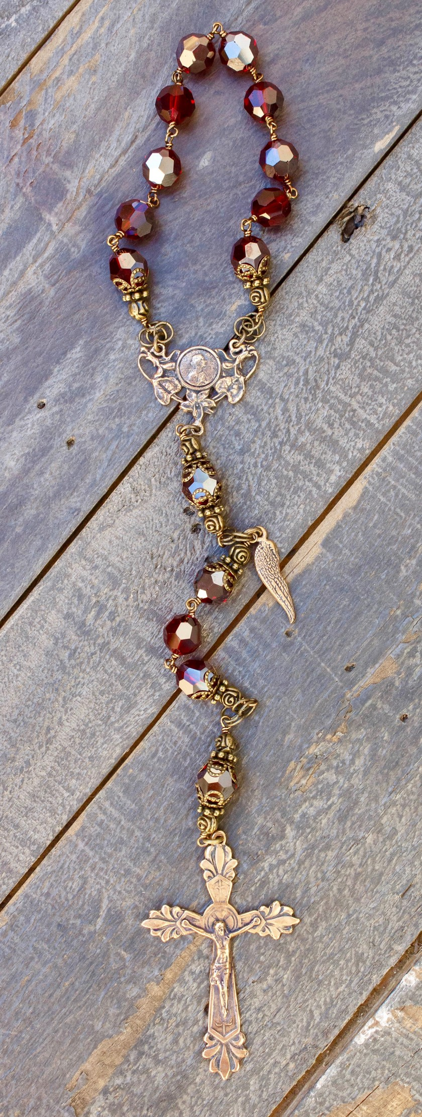 Garnet Swarovski One-Decade Heirloom Rosary 10mm
