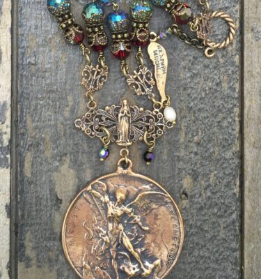 Blue and Garnet Crystal Necklace – St. Anthony and St. Christopher