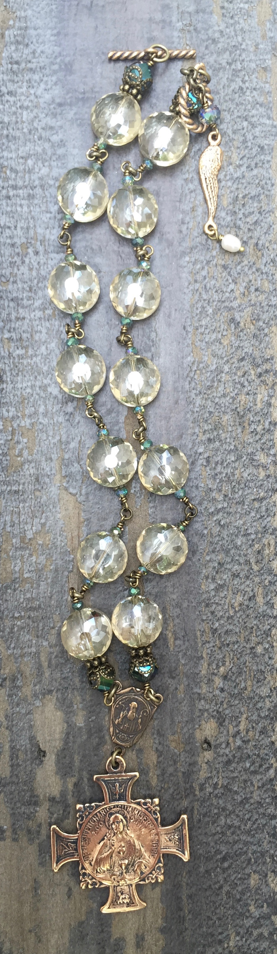 Champagne and Aqua Crystal Necklace – 12mm